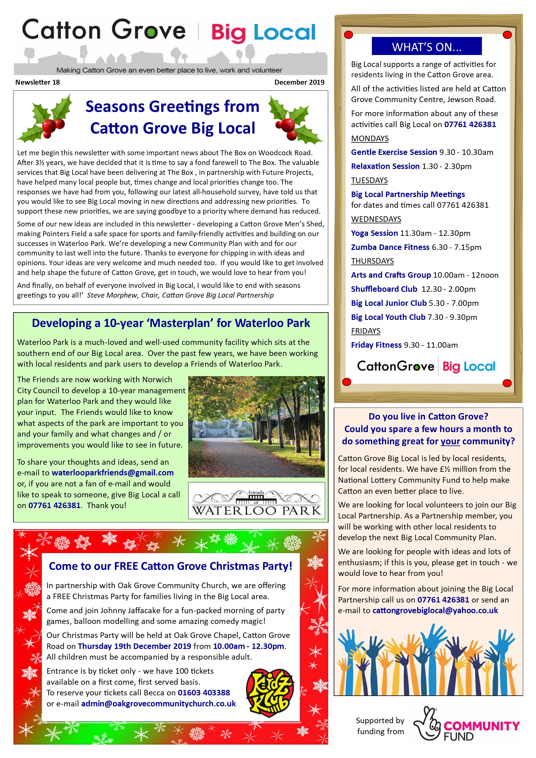 Big Local Newsletter Xmas 2019 p1